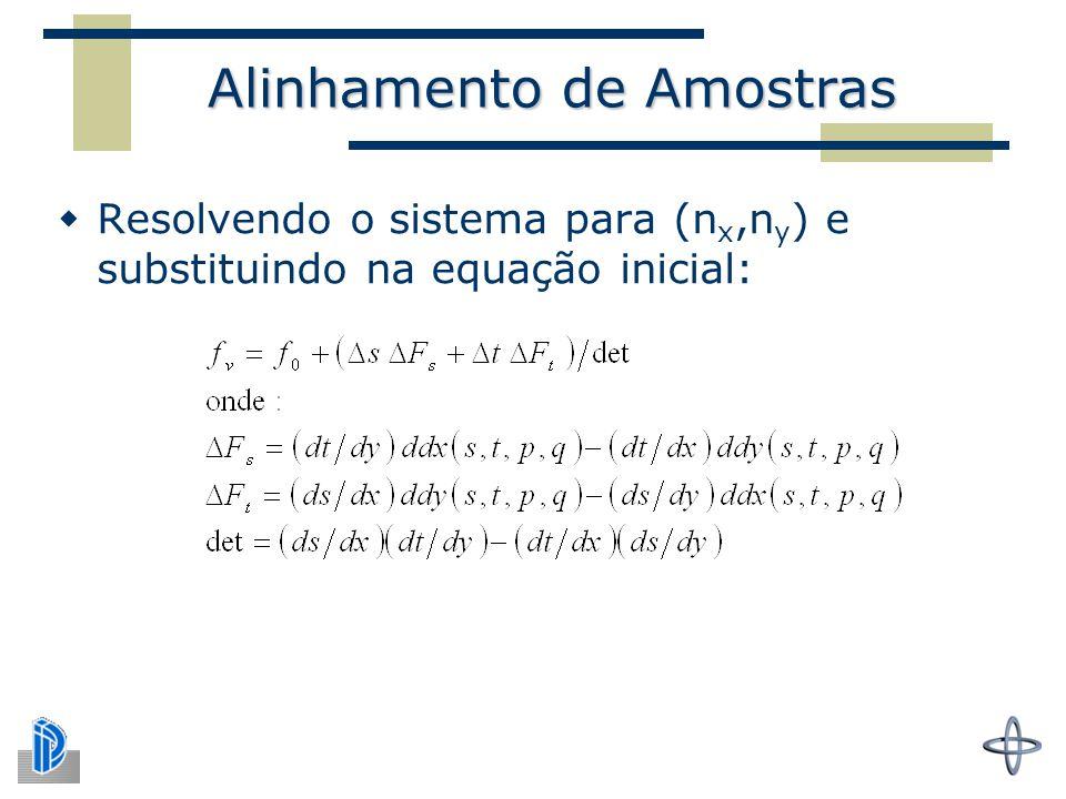 Alinhamento de Amostras  Resolvendo o sistema para (n x,n y ) e substituindo na equação inicial: