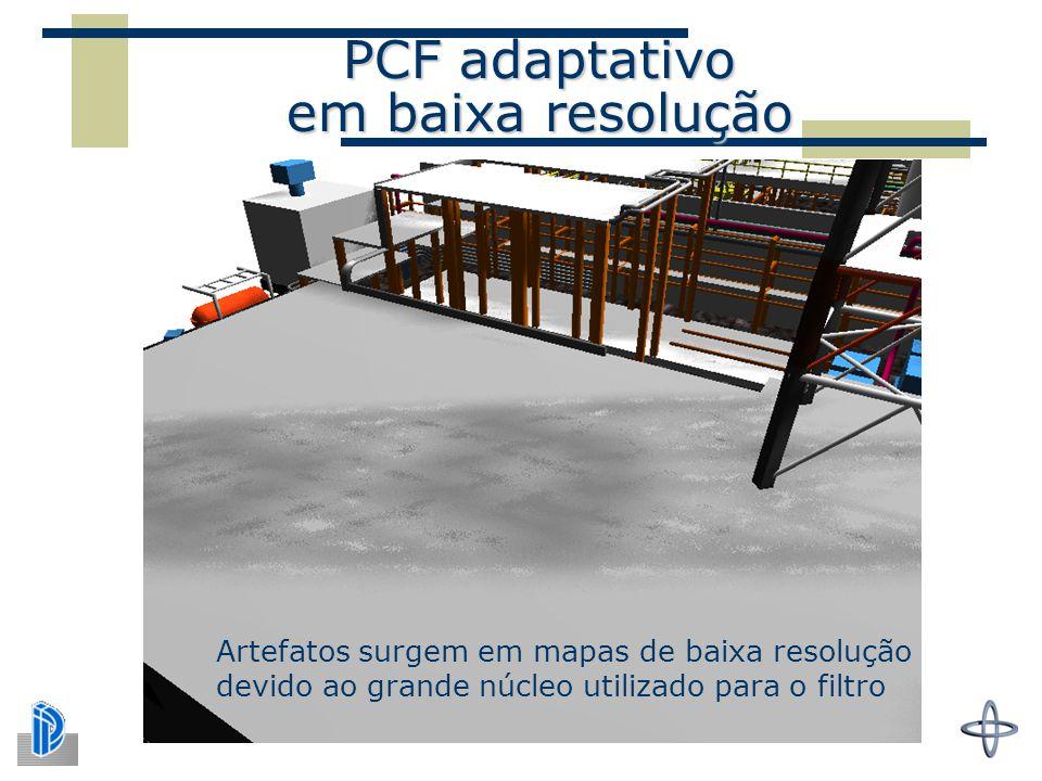 PCF adaptativo em baixa resolução Artefatos surgem em mapas de baixa resolução devido ao grande núcleo utilizado para o filtro