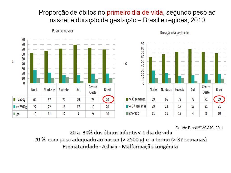 primeiro dia de vida Proporção de óbitos no primeiro dia de vida, segundo peso ao nascer e duração da gestação – Brasil e regiões, 2010 20 a 30% dos ó