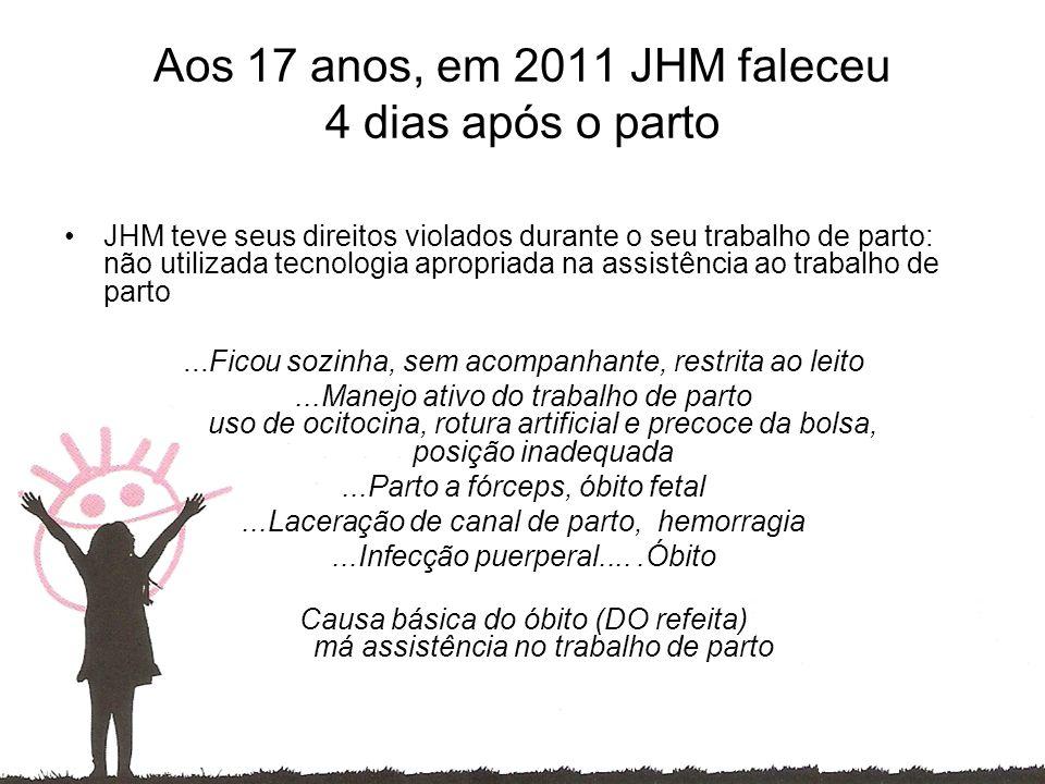 Aos 17 anos, em 2011 JHM faleceu 4 dias após o parto JHM teve seus direitos violados durante o seu trabalho de parto: não utilizada tecnologia apropriada na assistência ao trabalho de parto...Ficou sozinha, sem acompanhante, restrita ao leito...Manejo ativo do trabalho de parto uso de ocitocina, rotura artificial e precoce da bolsa, posição inadequada...Parto a fórceps, óbito fetal...Laceração de canal de parto, hemorragia...Infecção puerperal.....Óbito Causa básica do óbito (DO refeita) má assistência no trabalho de parto
