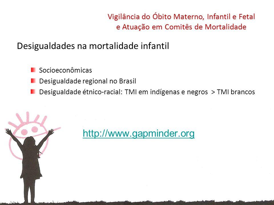 Desigualdades na mortalidade infantil Socioeconômicas Desigualdade regional no Brasil Desigualdade étnico-racial: TMI em indígenas e negros > TMI bran