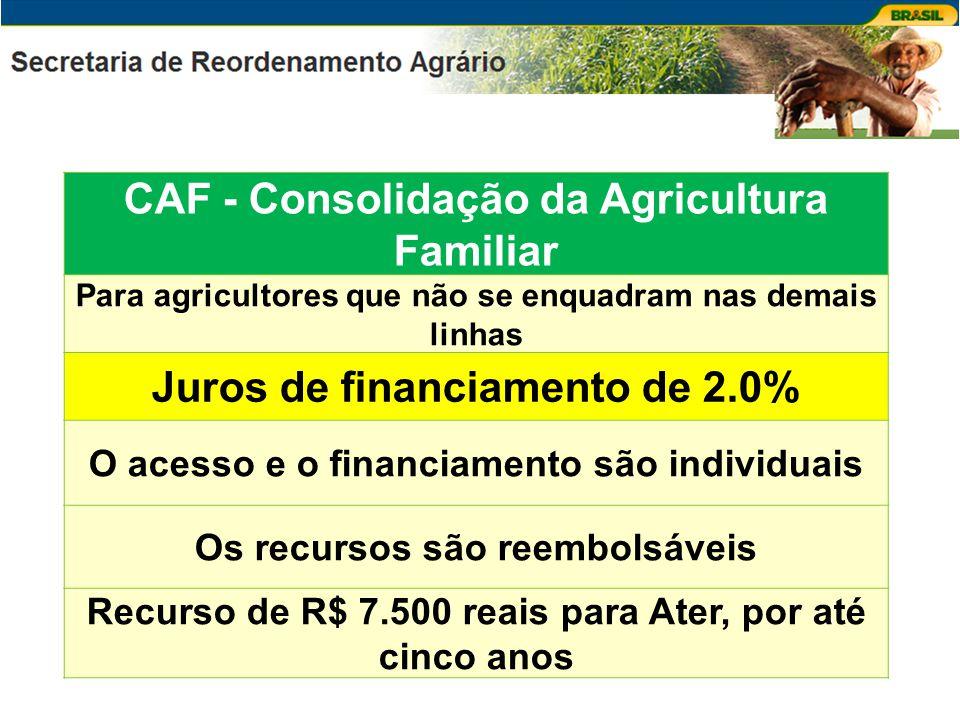CAF - Consolidação da Agricultura Familiar Para agricultores que não se enquadram nas demais linhas Juros de financiamento de 2.0% O acesso e o financ
