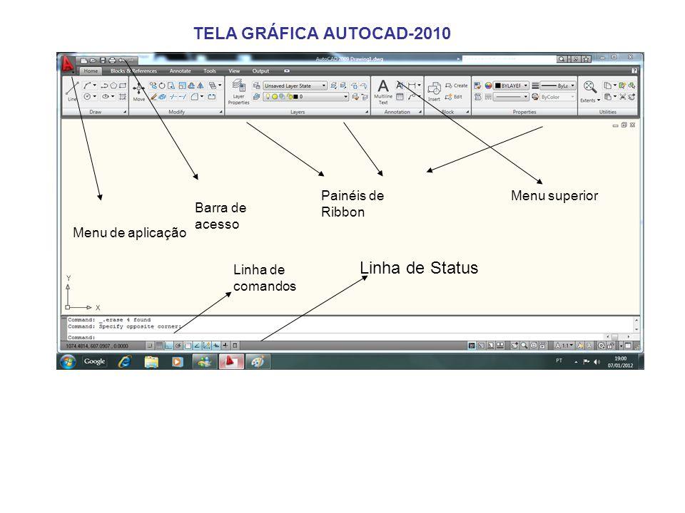 Menu de aplicação Barra de acesso Painéis de Ribbon Menu superior Linha de comandos Linha de Status TELA GRÁFICA AUTOCAD-2010