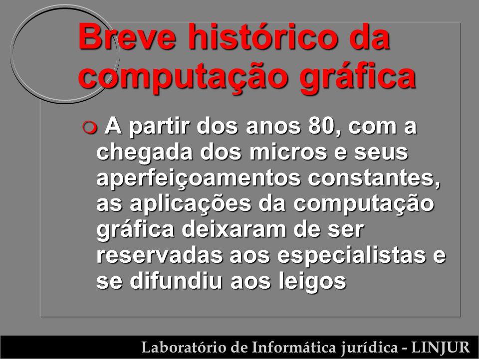 Laboratório de Informática jurídica - LINJUR Breve histórico da computação gráfica m A partir dos anos 80, com a chegada dos micros e seus aperfeiçoam