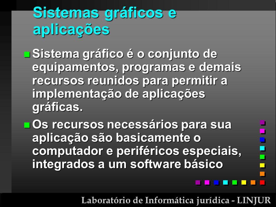 Laboratório de Informática jurídica - LINJUR Sistemas gráficos e aplicações n Sistema gráfico é o conjunto de equipamentos, programas e demais recurso