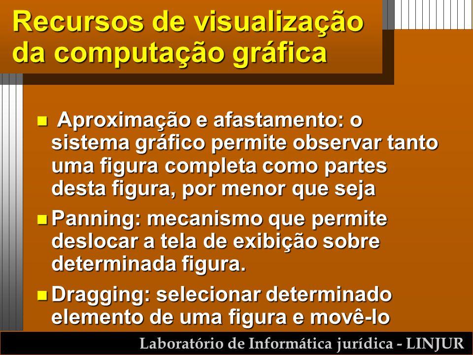 Laboratório de Informática jurídica - LINJUR Recursos de visualização da computação gráfica n Aproximação e afastamento: o sistema gráfico permite obs