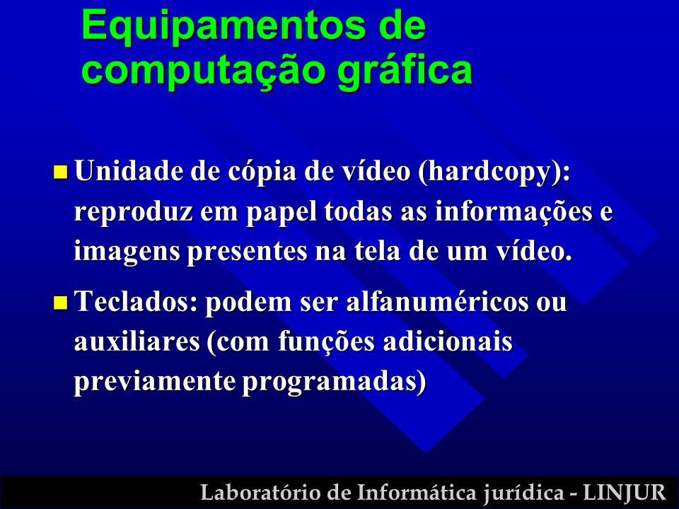 Laboratório de Informática jurídica - LINJUR n Unidade de cópia de vídeo (hardcopy): reproduz em papel todas as informações e imagens presentes na tel