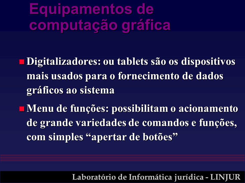 Laboratório de Informática jurídica - LINJUR Equipamentos de computação gráfica n Digitalizadores: ou tablets são os dispositivos mais usados para o f