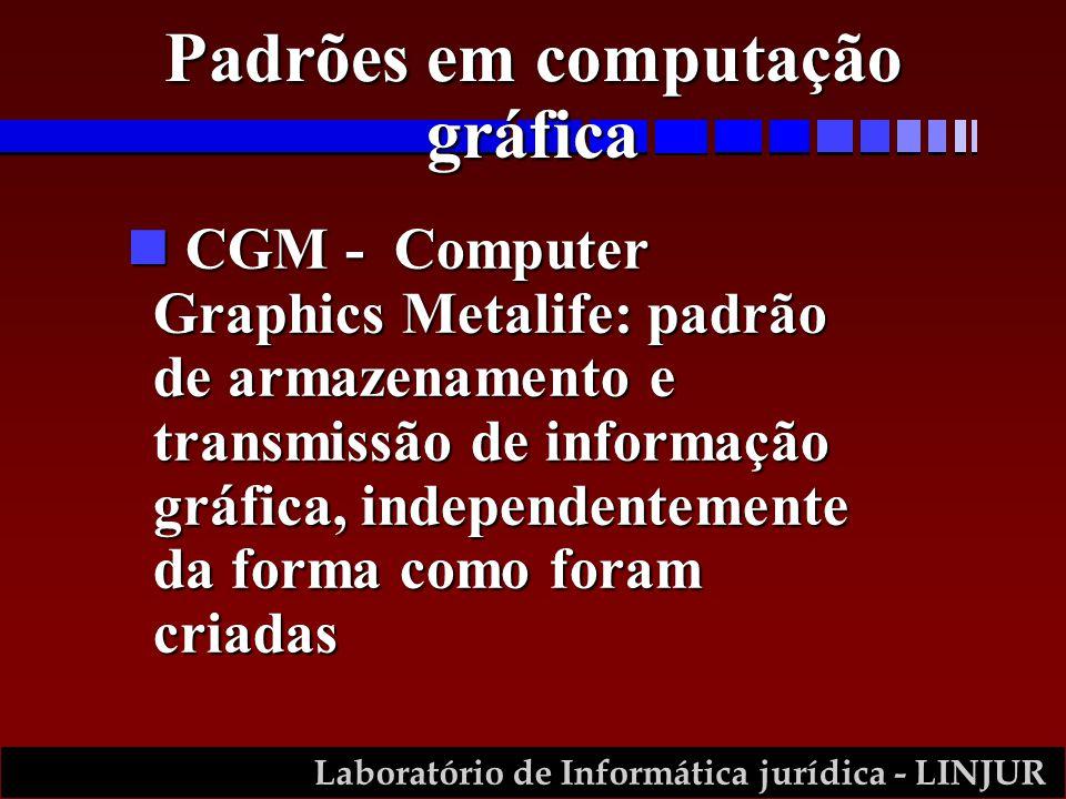 Laboratório de Informática jurídica - LINJUR n CGM - Computer Graphics Metalife: padrão de armazenamento e transmissão de informação gráfica, independentemente da forma como foram criadas Padrões em computação gráfica