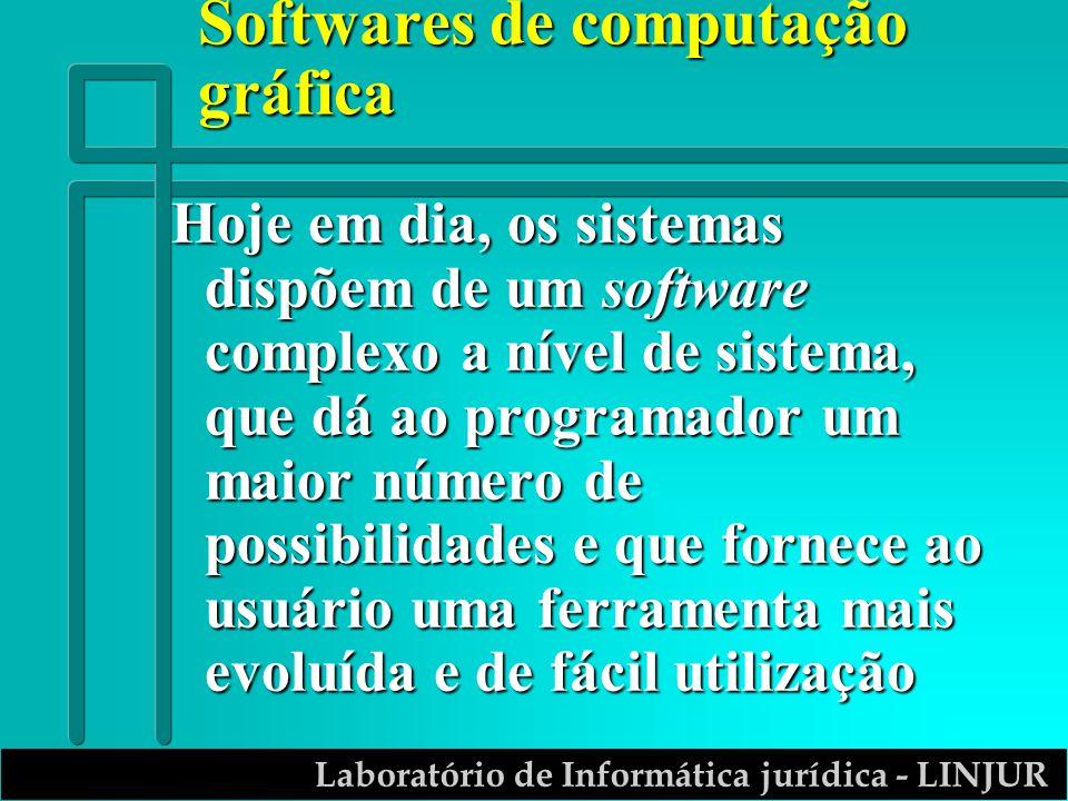 Laboratório de Informática jurídica - LINJUR Softwares de computação gráfica Hoje em dia, os sistemas dispõem de um software complexo a nível de sistema, que dá ao programador um maior número de possibilidades e que fornece ao usuário uma ferramenta mais evoluída e de fácil utilização
