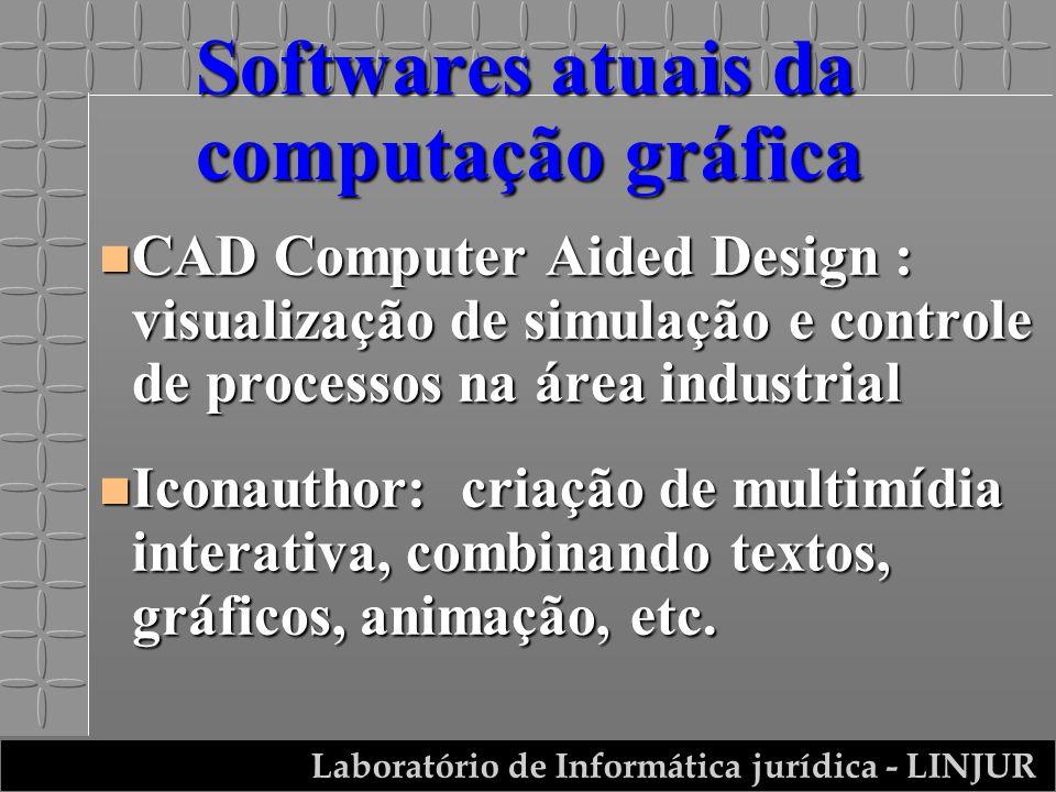Laboratório de Informática jurídica - LINJUR Softwares atuais da computação gráfica n CAD Computer Aided Design : visualização de simulação e controle de processos na área industrial n Iconauthor: criação de multimídia interativa, combinando textos, gráficos, animação, etc.