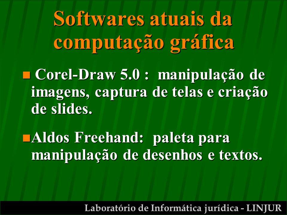 Laboratório de Informática jurídica - LINJUR Softwares atuais da computação gráfica n Corel-Draw 5.0 : manipulação de imagens, captura de telas e criação de slides.