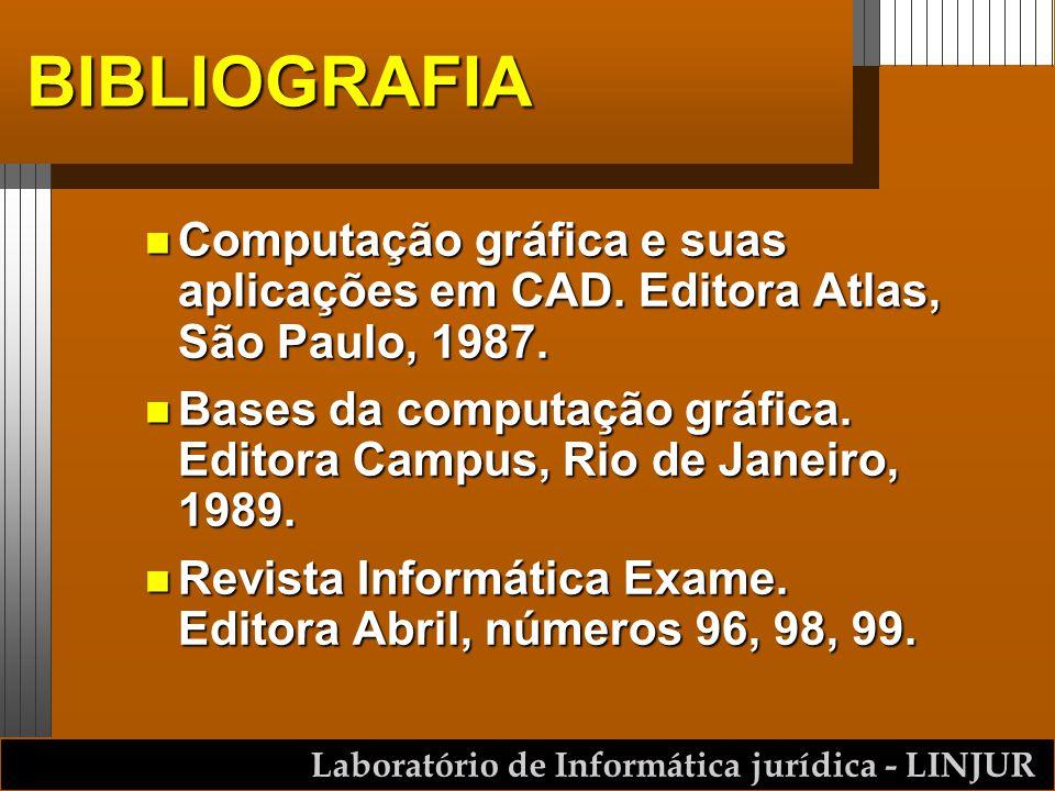 Laboratório de Informática jurídica - LINJUR BIBLIOGRAFIA n Computação gráfica e suas aplicações em CAD. Editora Atlas, São Paulo, 1987. n Bases da co