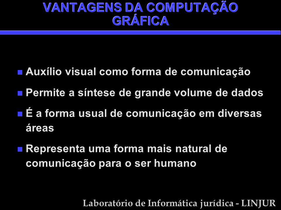 Laboratório de Informática jurídica - LINJUR VANTAGENS DA COMPUTAÇÃO GRÁFICA n Auxílio visual como forma de comunicação n Permite a síntese de grande volume de dados n É a forma usual de comunicação em diversas áreas n Representa uma forma mais natural de comunicação para o ser humano