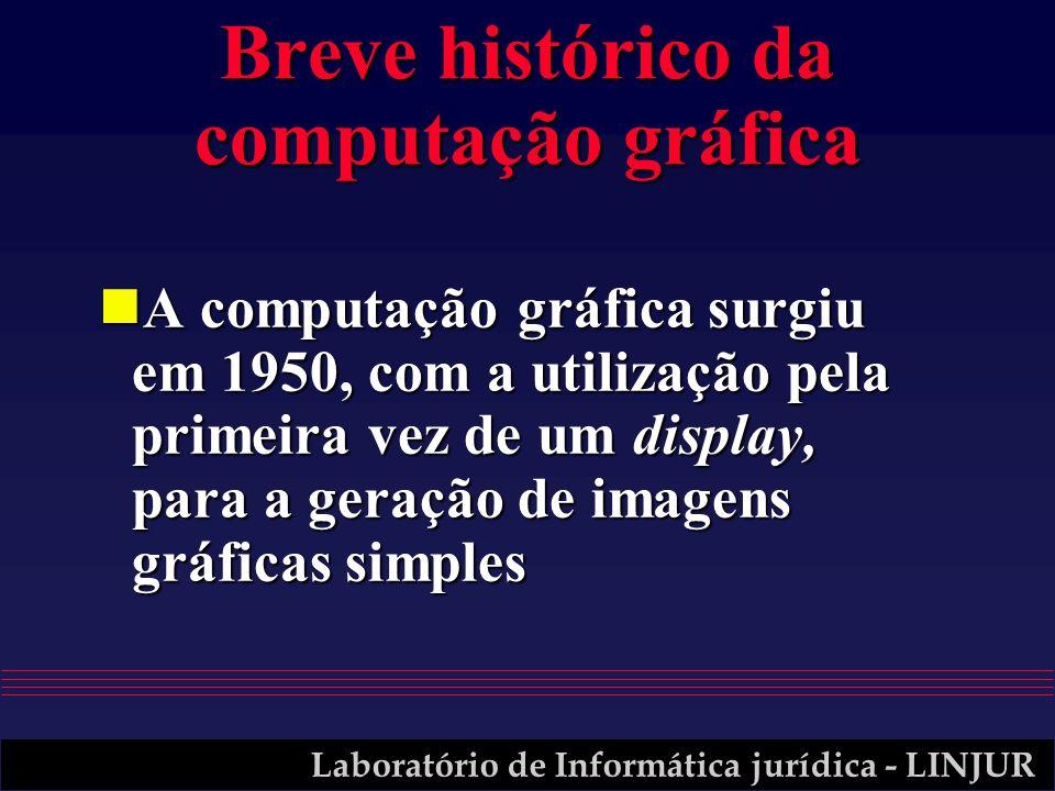 Laboratório de Informática jurídica - LINJUR Breve histórico da computação gráfica nA computação gráfica surgiu em 1950, com a utilização pela primeira vez de um display, para a geração de imagens gráficas simples