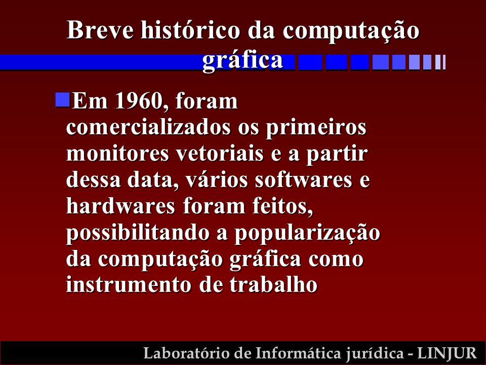 Laboratório de Informática jurídica - LINJUR Breve histórico da computação gráfica Em 1970, surgiram os primeiros monitores de varreduraEm 1970, surgiram os primeiros monitores de varredura Ainda na década de 70, ocorreram os primeiros pacotes gráficos e as primeiras conferências sobre computação gráficaAinda na década de 70, ocorreram os primeiros pacotes gráficos e as primeiras conferências sobre computação gráfica