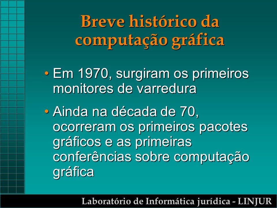 Laboratório de Informática jurídica - LINJUR Breve histórico da computação gráfica m A partir dos anos 80, com a chegada dos micros e seus aperfeiçoamentos constantes, as aplicações da computação gráfica deixaram de ser reservadas aos especialistas e se difundiu aos leigos