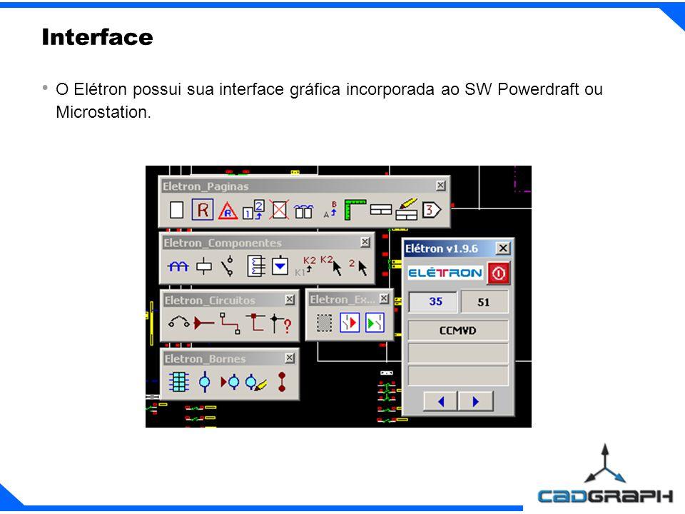 Interface O Elétron possui sua interface gráfica incorporada ao SW Powerdraft ou Microstation.