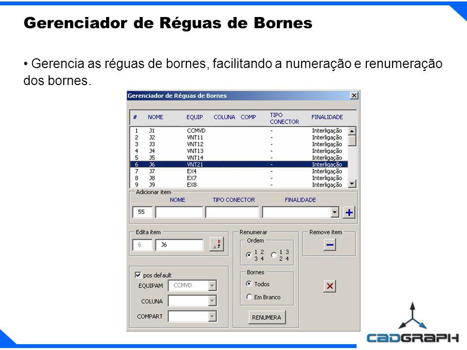 Gerencia as réguas de bornes, facilitando a numeração e renumeração dos bornes.