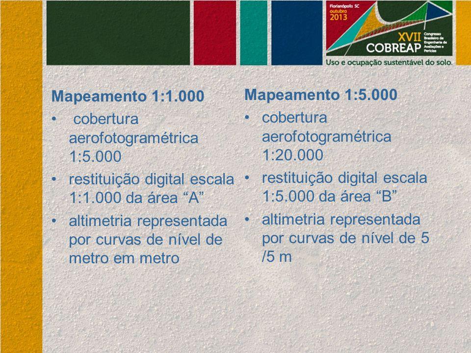 """Mapeamento 1:1.000 cobertura aerofotogramétrica 1:5.000 restituição digital escala 1:1.000 da área """"A"""" altimetria representada por curvas de nível de"""