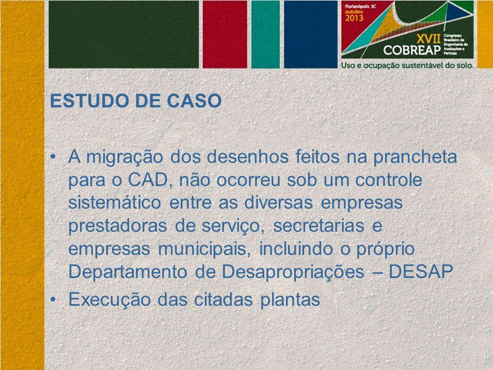 ESTUDO DE CASO A migração dos desenhos feitos na prancheta para o CAD, não ocorreu sob um controle sistemático entre as diversas empresas prestadoras