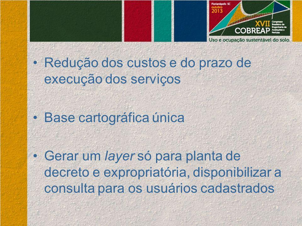Redução dos custos e do prazo de execução dos serviços Base cartográfica única Gerar um layer só para planta de decreto e expropriatória, disponibiliz