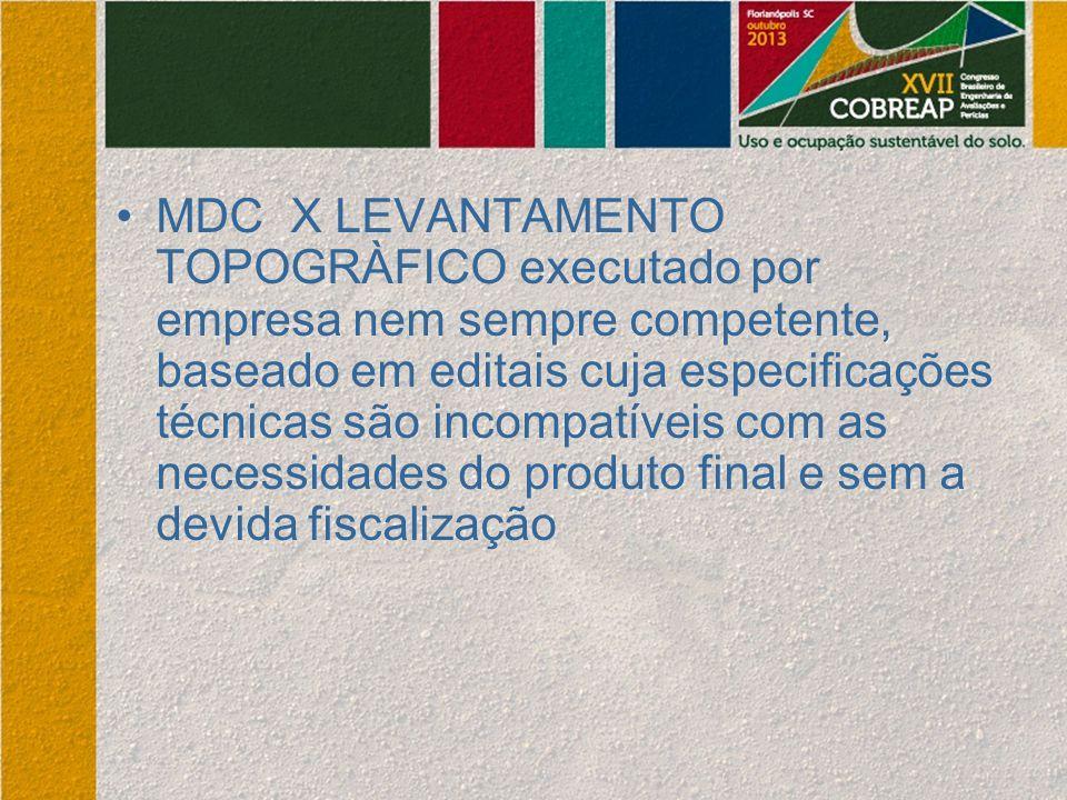 MDC X LEVANTAMENTO TOPOGRÀFICO executado por empresa nem sempre competente, baseado em editais cuja especificações técnicas são incompatíveis com as n