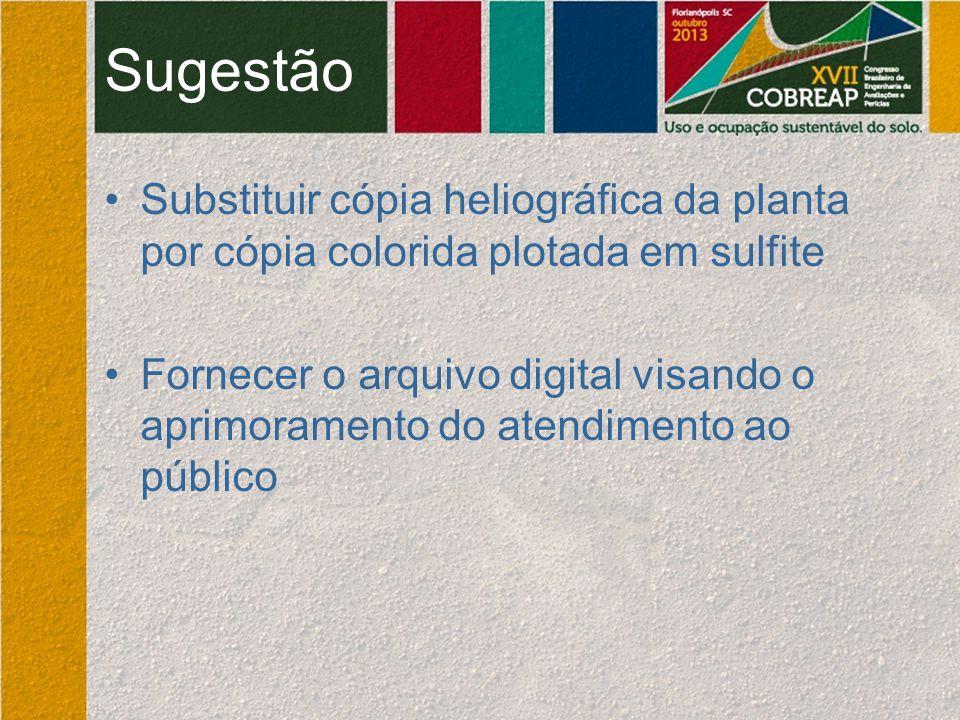 Sugestão Substituir cópia heliográfica da planta por cópia colorida plotada em sulfite Fornecer o arquivo digital visando o aprimoramento do atendimen