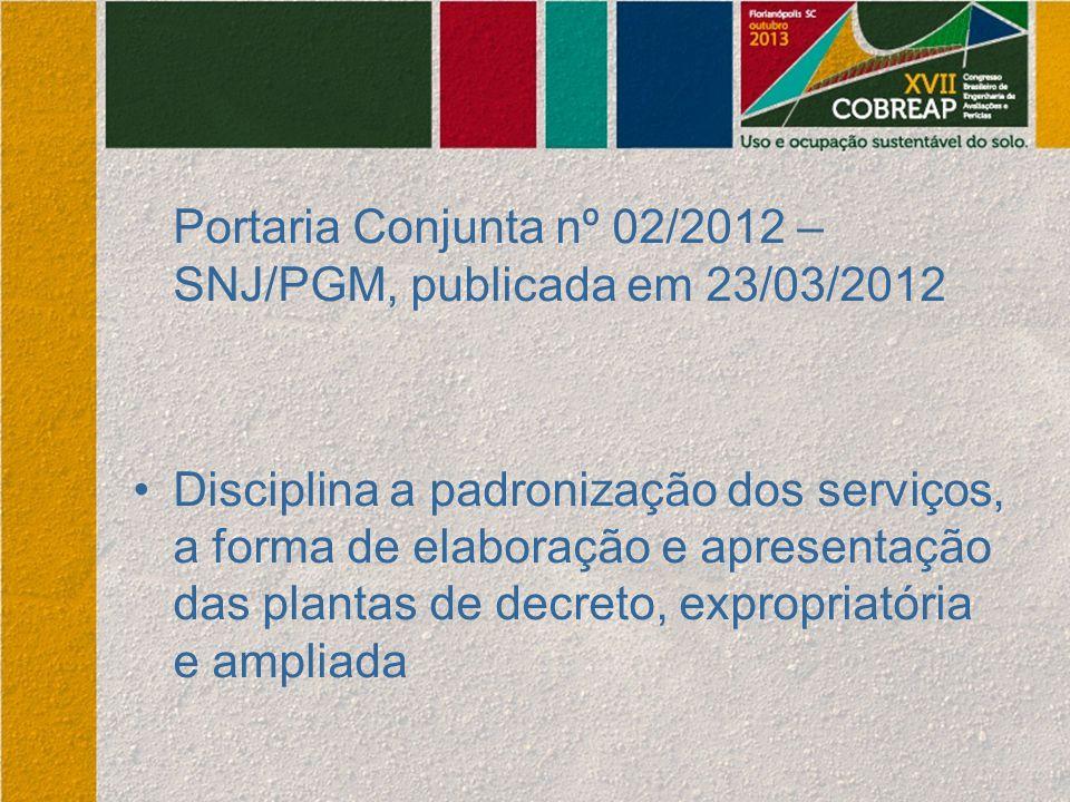 Portaria Conjunta nº 02/2012 – SNJ/PGM, publicada em 23/03/2012 Disciplina a padronização dos serviços, a forma de elaboração e apresentação das plant