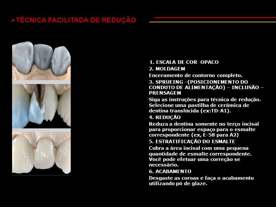  TÉCNICA FACILITADA DE REDUÇÃO 1.ESCALA DE COR OPACO 2.