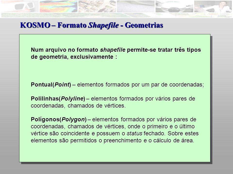 Num arquivo no formato shapefile permite-se tratar três tipos de geometria, exclusivamente : Pontual(Point) – elementos formados por um par de coordenadas; Polilinhas(Polyline) – elementos formados por vários pares de coordenadas, chamados de vértices.