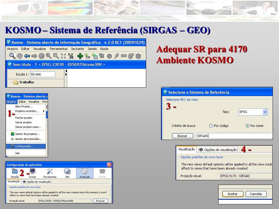 KOSMO – Sistema de Referência (SIRGAS – GEO) Adequar SR para 4170 Ambiente KOSMO 1- 2 - 3 - 4 -