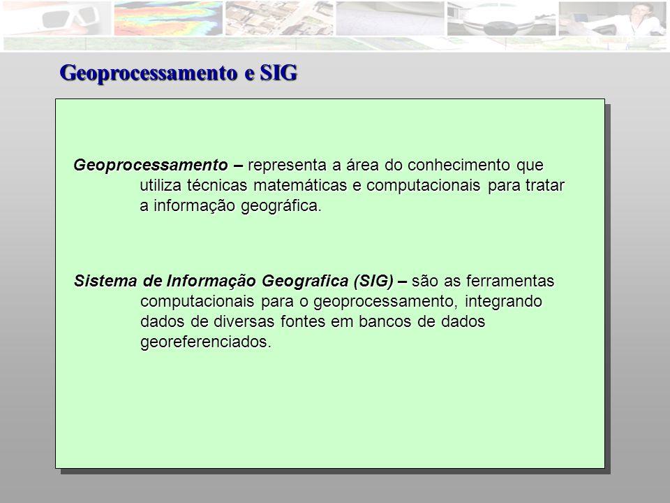 Geoprocessamento – representa a área do conhecimento que utiliza técnicas matemáticas e computacionais para tratar a informação geográfica.