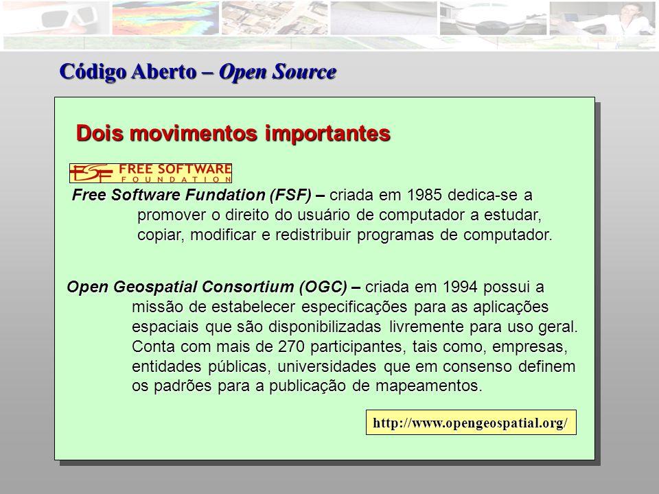 Free Software Fundation (FSF) – criada em 1985 dedica-se a promover o direito do usuário de computador a estudar, copiar, modificar e redistribuir programas de computador.