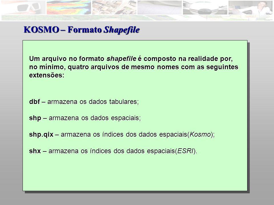 Um arquivo no formato shapefile é composto na realidade por, no mínimo, quatro arquivos de mesmo nomes com as seguintes extensões: dbf – armazena os dados tabulares; shp – armazena os dados espaciais; shp.qix – armazena os índices dos dados espaciais(Kosmo); shx – armazena os índices dos dados espaciais(ESRI).