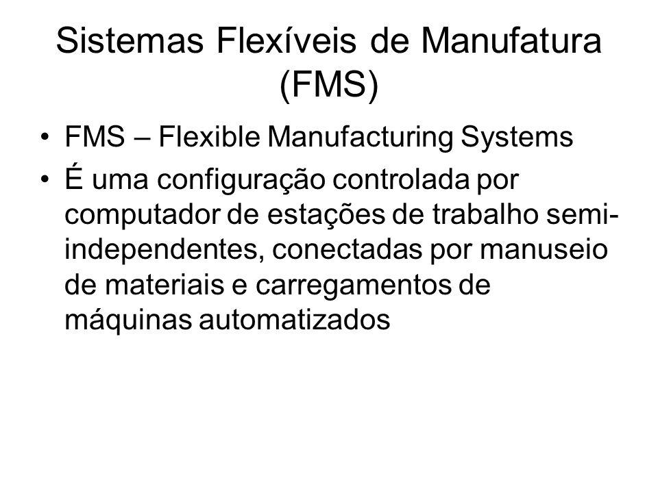 Sistemas Flexíveis de Manufatura (FMS) FMS – Flexible Manufacturing Systems É uma configuração controlada por computador de estações de trabalho semi-