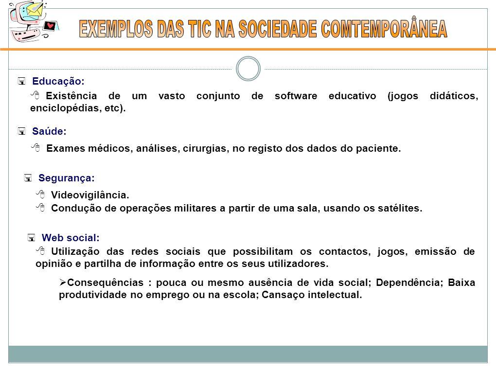  Educação:  Existência de um vasto conjunto de software educativo (jogos didáticos, enciclopédias, etc).