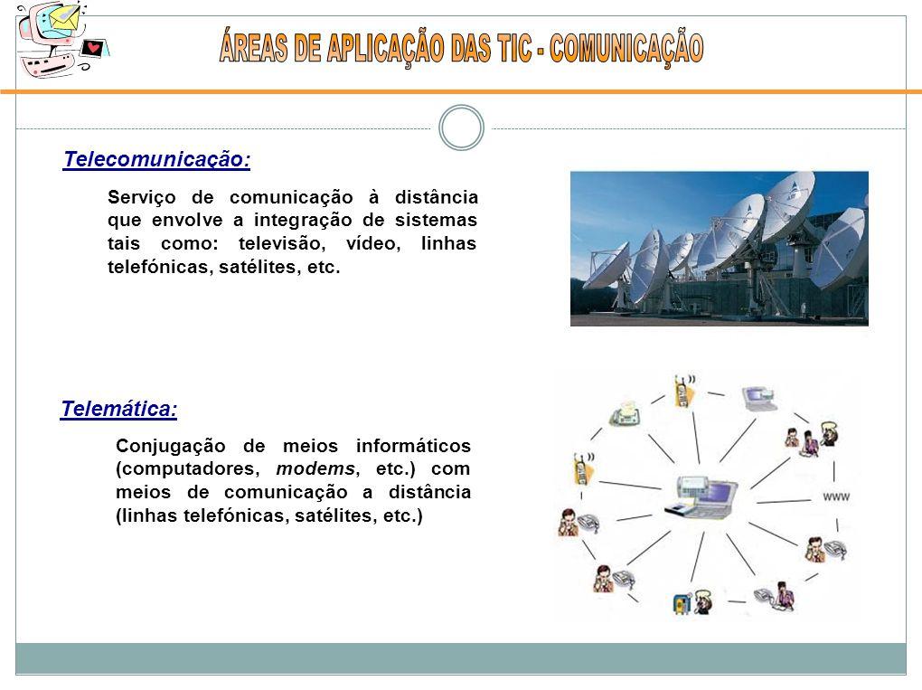 Telecomunicação: Telemática: Conjugação de meios informáticos (computadores, modems, etc.) com meios de comunicação a distância (linhas telefónicas, satélites, etc.) Serviço de comunicação à distância que envolve a integração de sistemas tais como: televisão, vídeo, linhas telefónicas, satélites, etc.