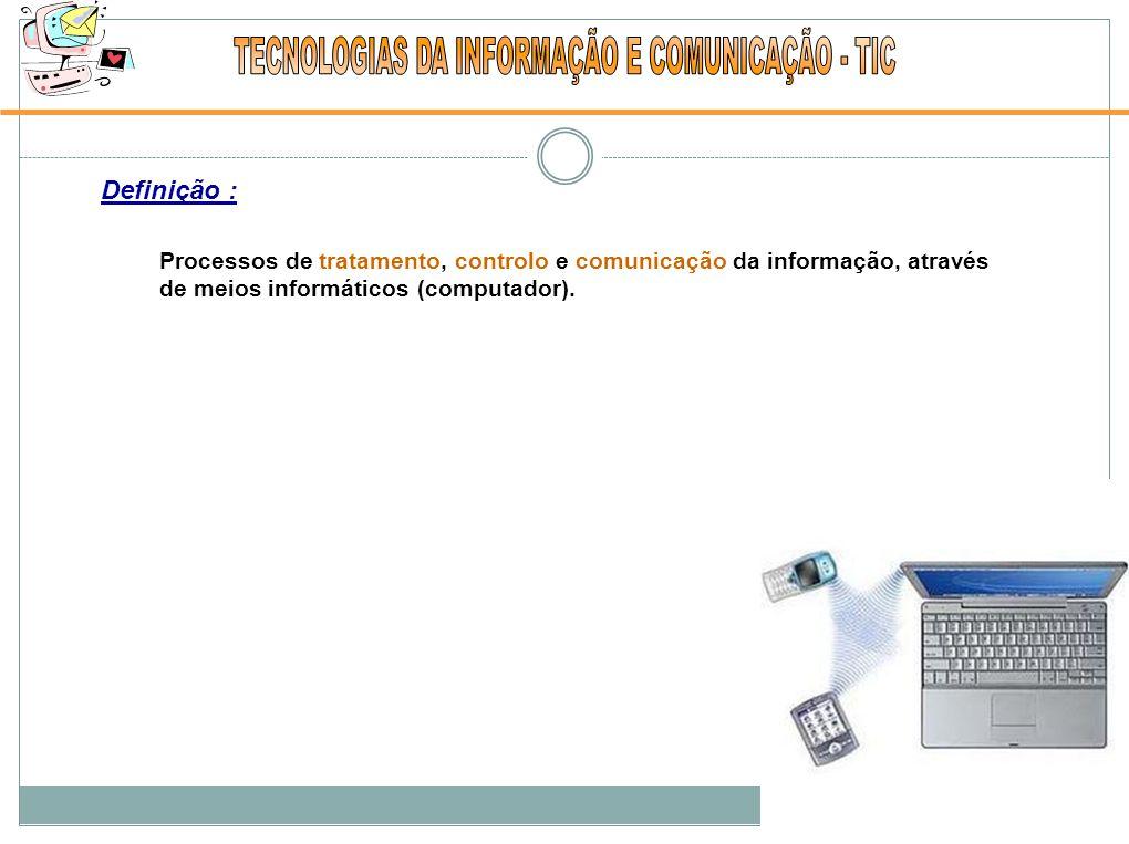 Definição : Processos de tratamento, controlo e comunicação da informação, através de meios informáticos (computador).