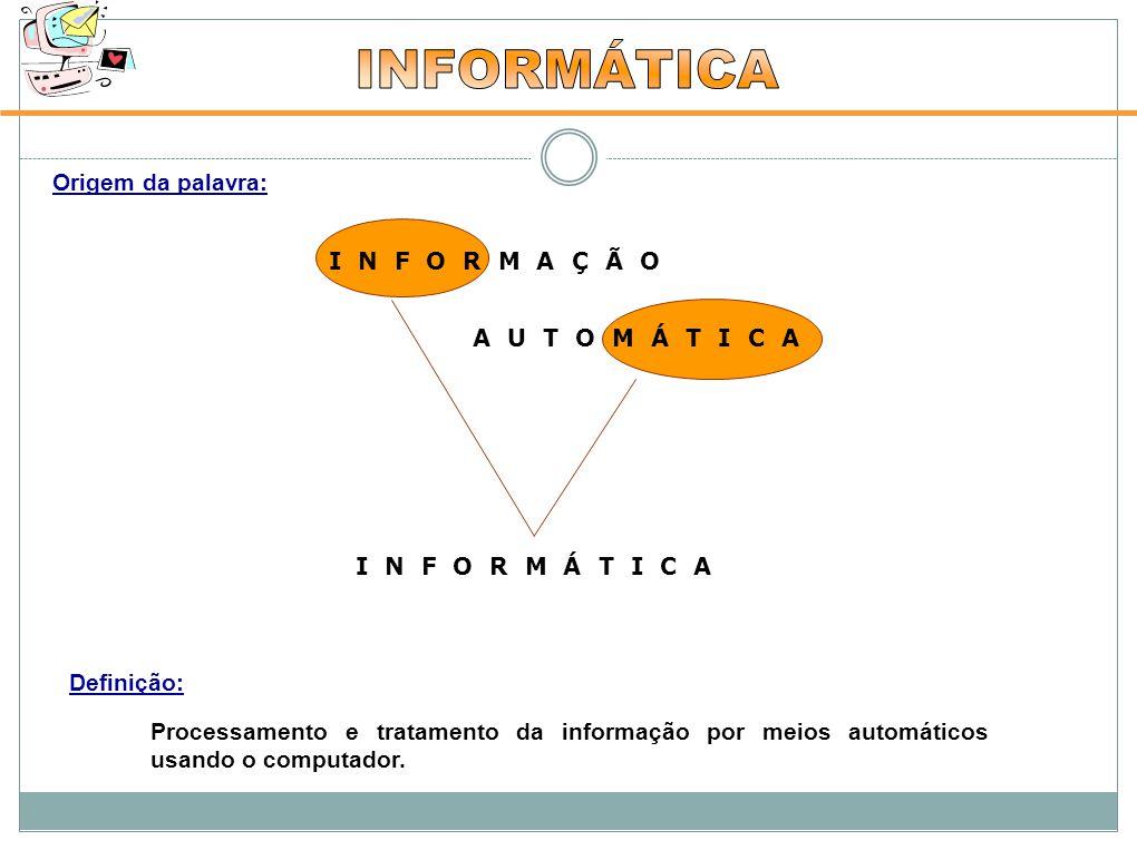 Origem da palavra: Definição: Processamento e tratamento da informação por meios automáticos usando o computador.