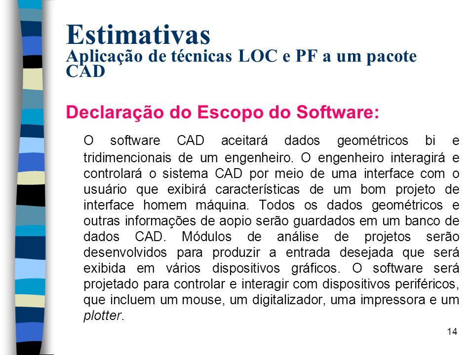 15 Estimativas Aplicação de técnicas LOC e PF a um pacote CAD (cont.) Principais funções identificadas: n Facilidade de controle de interfaces com o usuário (IHM) n Análise geométrica bidimencional (AGB) n Análise geométrica tridimencional (AGT) n Gerenciamento de banco de dados (GBD) n Facilidades de display gráfico (FDG) n Controle de periféricos (CP) n Análise de projetos (AP)