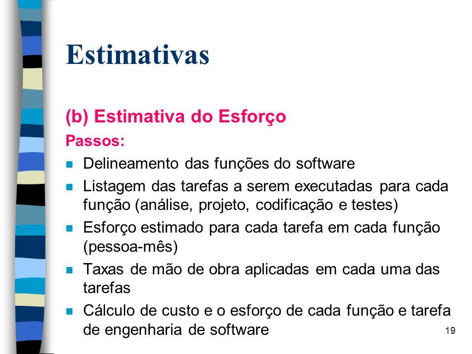 19 Estimativas (b) Estimativa do Esforço Passos: n Delineamento das funções do software n Listagem das tarefas a serem executadas para cada função (an