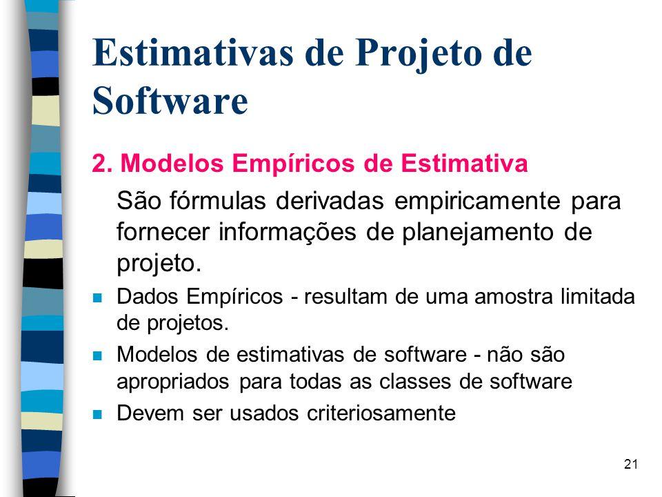21 Estimativas de Projeto de Software 2. Modelos Empíricos de Estimativa São fórmulas derivadas empiricamente para fornecer informações de planejament