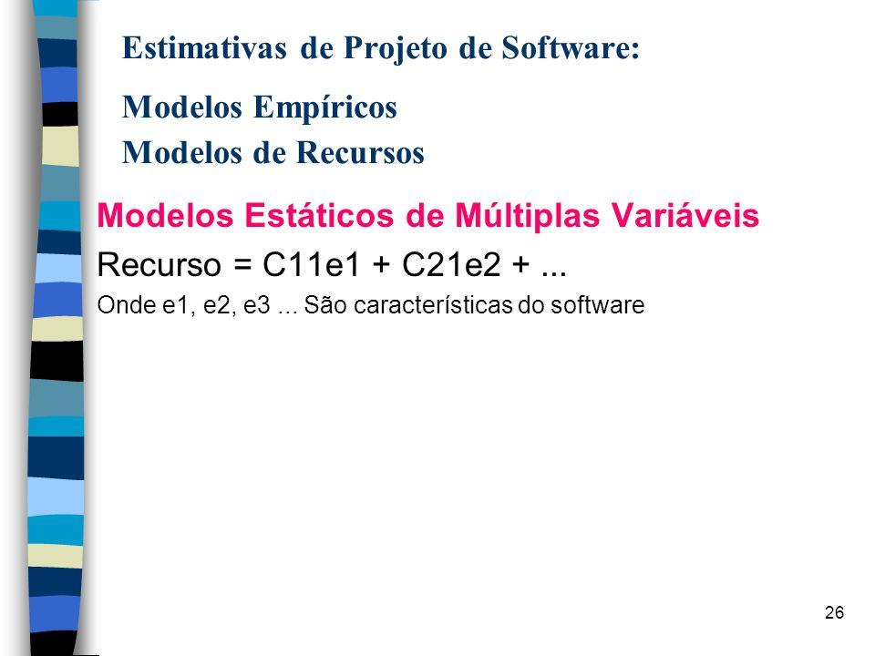 27 Estimativas de Projeto de Software: Modelos Empíricos Modelos de Recursos Modelos Dinâmicos de Múltiplas Variáveis n projetam os requisitos de recursos como uma função do tempo n recursos são definidos atribuindo-se uma porcentagem de esforço a cada passo de engenharia de software