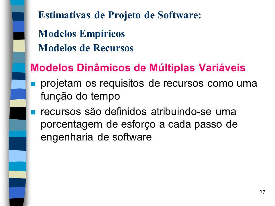 28 Estimativas de Projeto de Software: Modelos Empíricos Modelos de Recursos Modelos Teóricos n abordam teoricamente modelos dinâmicos de múltiplas variáveis n Examina o software de forma minuciosa (ex.