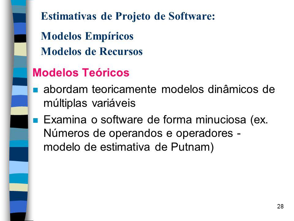 28 Estimativas de Projeto de Software: Modelos Empíricos Modelos de Recursos Modelos Teóricos n abordam teoricamente modelos dinâmicos de múltiplas va