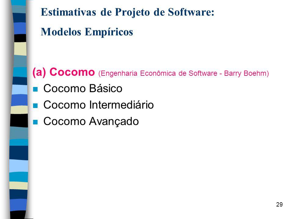 30 Estimativas de Projeto de Software: Modelos Empíricos (a) Cocomo (Engenharia Econômica de Software - Barry Boehm) n Cocomo Básico Computa: esforço e custo em função do tamanho de programas expresso em linhas de código estimadas.