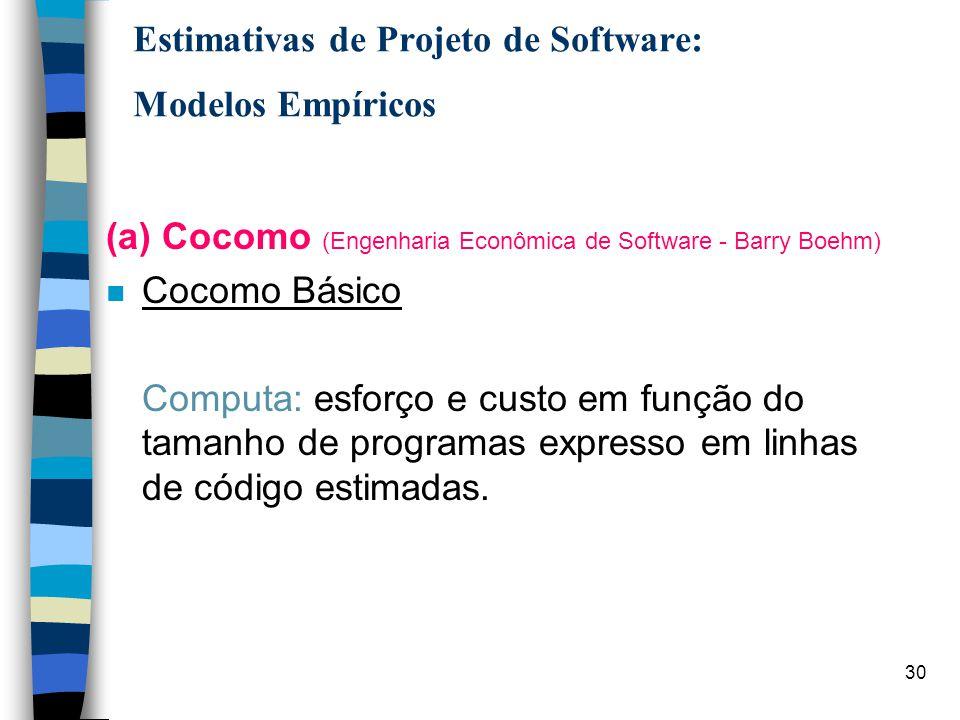 30 Estimativas de Projeto de Software: Modelos Empíricos (a) Cocomo (Engenharia Econômica de Software - Barry Boehm) n Cocomo Básico Computa: esforço