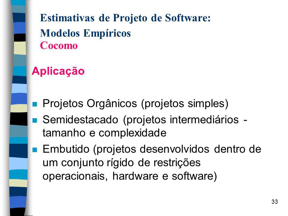 33 Estimativas de Projeto de Software: Modelos Empíricos Cocomo Aplicação n Projetos Orgânicos (projetos simples) n Semidestacado (projetos intermediá