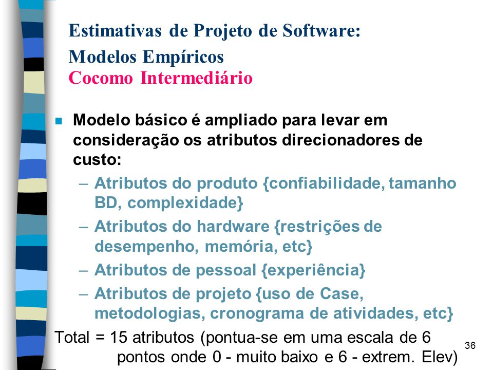 36 Estimativas de Projeto de Software: Modelos Empíricos Cocomo Intermediário n Modelo básico é ampliado para levar em consideração os atributos direc